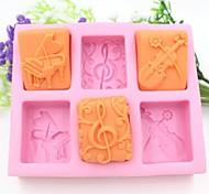 фортепиано гитара ноты форму помады торт шоколадный силиконовые формы торт украшение инструменты, l13.7cm * w11.6cm * h2.8cm