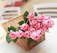 Set Of 6 Fake Silk Rose Flowers ,Plastic Random Color