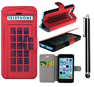 The Red Phone Booth Pattern PU Leather Full Body Case with Stand and A Stylus Touch Pen for iPhone 5/5S/5C
