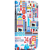 24 Hours in New York Pattern Cross Texture Wallet Style Stand TPU+PU Leather Cover for iPhone 6
