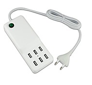 6 USB Port AC Power Charger Adapter for iPad/iPhone/Samsung (60W DC5V 12A,100~240V EU Plug,1.5m)