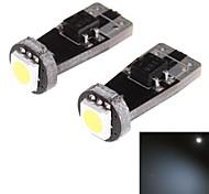 t10 0.5w 8lm 6000k 1-SMD 5050 LED blanche lampe de largeur de voiture de lumière (12v / 2 pcs)