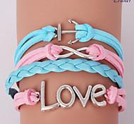 Eruner®Leather Bracelets Multilayer Alloy Love Charms Handmade Bracelet