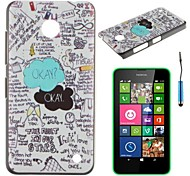 """""""Okay"""" Word And Scrawl Pattern PC Hard Back Cover Case with Touch Pen for Nokia Lumia N630"""