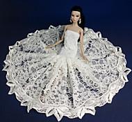Barbie Doll White Lace Mermaid Style Wedding Dress