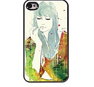 Smoking Girl Pattern Aluminum Hard Case for iPhone 4/4S