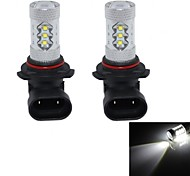 HJ  9006 80W 3000lm 6000-6500K 16*Cree LED Bulb for Car Foglight  White Light (12-24V, 2Pcs)