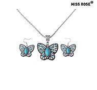 Miss ROSE®Vintage Turquoise Hollow Out Butterfly Shape Necklace and Earrings\ \