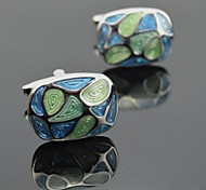 Toonykelly Fashion Men's Silver Copper Enamel Cufflink(1 Pair)