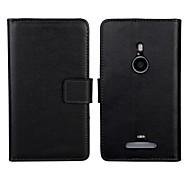 Normallackmuster aus echtem Leder Ganzkörper-Fall mit Standplatz und Kartensteckplatz für Nokia Lumia 925