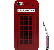 Red Telephone Home Pattern Hard Case & Touch Pen for iPhone 5/5S