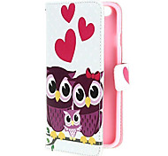 Lovely and Happy Owls' Family PU Leather Flip Cover with Stand and Card Slot for iPhone 6