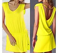 Women's Fashion Solid Deep V Beading Swimwear Swimsuit Bikini Beach Cover Up Holiday dress