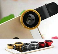 3 in 1 Fisheye and Macro Lens and 0.67X Wide Angle with Lens Cap and Bag for iPhone 4/4S/5/5S/6/6 Plus(Assorted Colors)