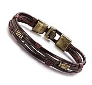 Personality Multi-layer Leather Titanium Steel Buckle Men's Bracelet