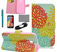 COCO FUN® Colorful Chrysanthemum Pattern PU Leather Case with Film and USB Cable and Stylus for Motorala Moto G2 XT1063