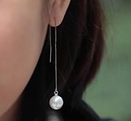 elegant Perle lange Drop Frauen Quaste Ohrringe (1 Paar / weiß)