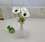 """modernos flores artificiais 3 peças / lote branco amarelo roxo anêmona-tronco vermelho 15.7 """"para casa e decoração do partido"""