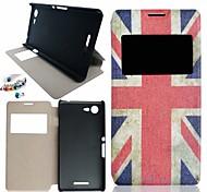 el patrón de bandera británica cuero de la PU caso de cuerpo entero y de pie y al polvo plugfor sony xperia e3