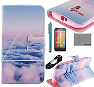 COCO FUN® Triangle Cloud Pattern PU Leather Full Body Case with Film USB Cable and Stylus for Motorala Moto G