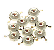 zdm® 10pcs 3W 700mA 1 * cob 80-90lm 620-630k leds componente vermelho (DC 12-24V)