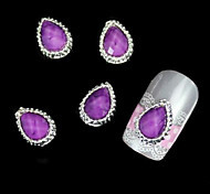 10pcs Purple Drop Rhinestone Alloy With Scale Surface Nail Art Decoration