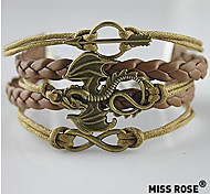 Miss ROSE®Multilayer Alloy Dragon Handmade Leather Bracelets