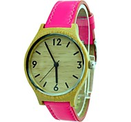 Women's Watch Bamboo Wooden Case Pink Leather Strap Stylish Japan Movt Quartz Wrist Watch