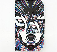 Wolf Pattern PU Leather Full Body Case with Card Slot and Stand for S3 Mini I8190N
