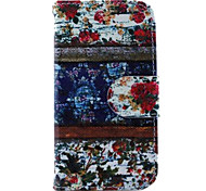 Floral Blue Wood Pattern PU Leather Case and Mini Display Stand with Diamond Dust Plug for iPhone 4/4S