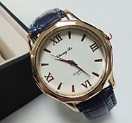 unisex rodada relógio de couro com ligação de banda quartzo moda (cores sortidas)
