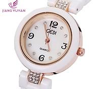 donne di marca di lusso gedi® orologi moda rosa strass oro bianco quarzo banda ceramica guarda le donne (colori assortiti)