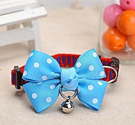 Adjustable Meshbelt Spot Pattern Blue Bowknot and Bell Decorated Collar for Pet Dogs