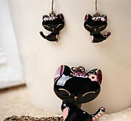 Retro Drip Paint Cats Earring Necklace Set