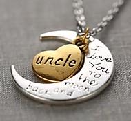 Mode Onkel Herz und Mond Anhänger Silber-Legierung Anhänger Halskette (1 PC)