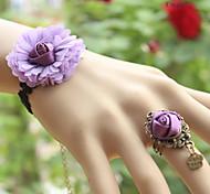 eruner®2014 новый бутик кружева фиолетовый цветок браслет кольцо целое цепи