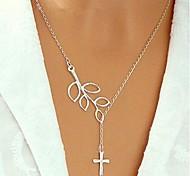 Fashion Leaves Mini Cross Necklace
