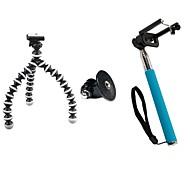 conjunto de disparador automático (pequeño trípode, adaptador de GoPro, azul auto-polo, clip teléfono móvil)
