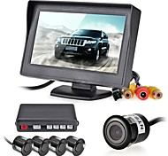 12V 4 Parking Sensors LCD Display Camera Video Car Reverse Backup Radar System Kit Buzzer Alarm