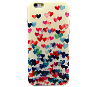 Colorful Heart Pattern TPU Soft Cover for iPhone 6