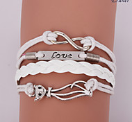 Eruner®Leather Bracelets Multilayer Alloy Love and Cat Charms infinite Handmade Bra