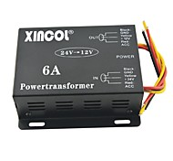 Xincol® Vehicle Car DC 24V to 12V 6A Power Supply Transformer Converter-Black