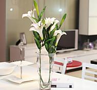 Set Of 3  Fake PU Lily Flowers ,Resin Random Color