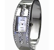 senhoras das mulheres retangular prata pulseira de quartzo pulseira relógio fw642b