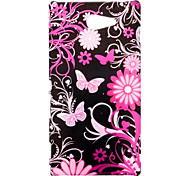 Beautiful Butterflies and Flowers Pattern Oil Coated PC Hard Back Cover Case for Sony Xperia M2 D2303 D2305 D2306