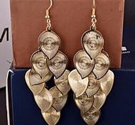 Women's Personalized Multi-level Sub-element Long Leaf Earrings