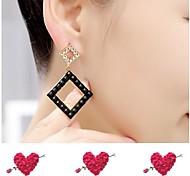High-grade  Diamond Gem Square Earrings