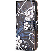 White Flower Fashion Wallet Style Magnetic Flip PC+PU Leather Case for iPhone 6
