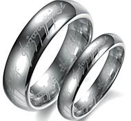 Simple Design Silver Color Tungsten Couple Ring