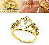 Diamond Crown Hollow Three-dimensional Love Heart Ring